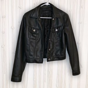 EXPRESS vintage button up pleather black jacket. S